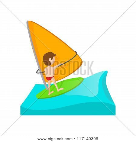 Yacht racing cartoon icon