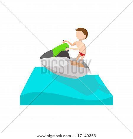A man riding on a ski jet cartoon icon