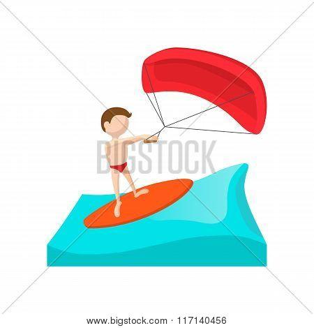 Kitesurfing cartoon icon