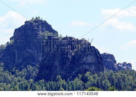Falkenstein And Schrammsteine In The Background In Saxon Switzerland