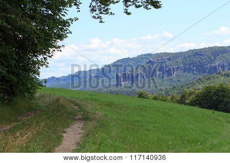 Hiking Path And Group Of Rocks Affensteine In Saxon Switzerland