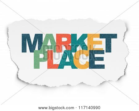 Marketing concept: Marketplace on Torn Paper background