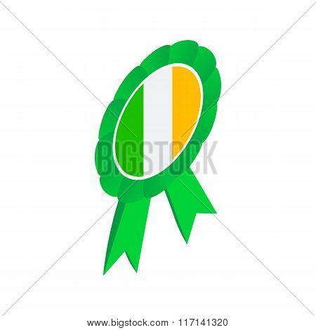 Ribbon rosette in Irish colors isometric 3d icon