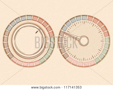 Button And Dial With Needle In A Handrawn Style On A Texture Background