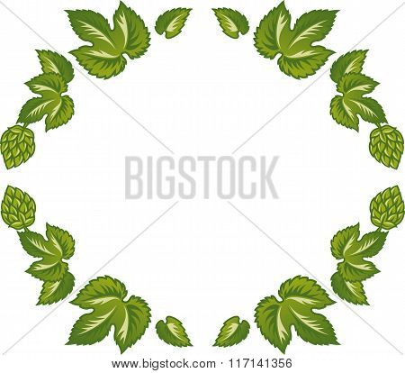 Decorative Frame Of Green Leaves And Hop Cones.