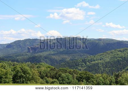 Group Of Rocks Affensteine With Blue Sky In Saxon Switzerland