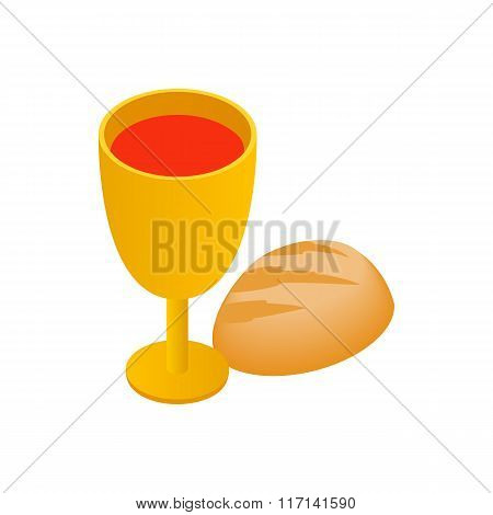 Chalice with wine, piece of bread isometric icon