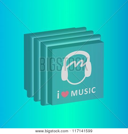 I love music cd boxes vector