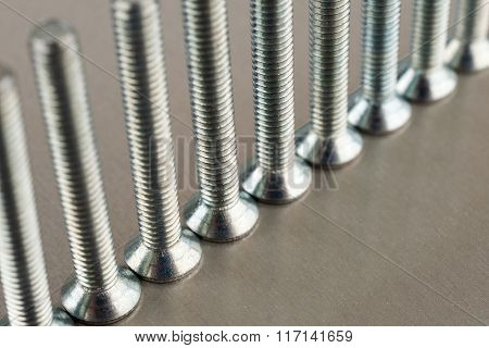 An Even Number Of Metal Screws Standing On A Metal