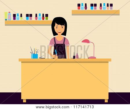 Workplace manicurist. Young woman sitting at a table in a beauty salon. Vector illustration