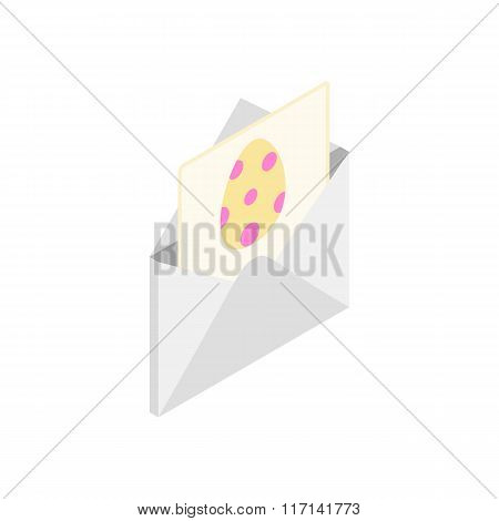 Easter card with a egg isometric 3d icon