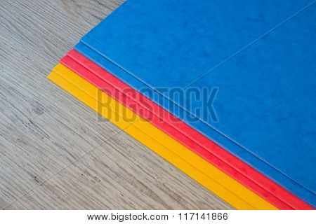 Folders in different colors.Office background