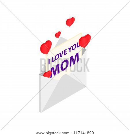 Greeting card for Mother Day in the envelope icon