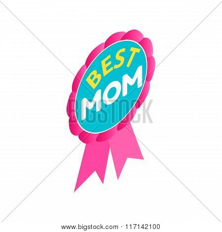 Ribbon rosette with the text Best Mom icon
