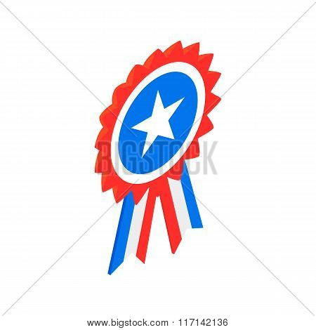Ribbon rosette in the USA flag colors icon