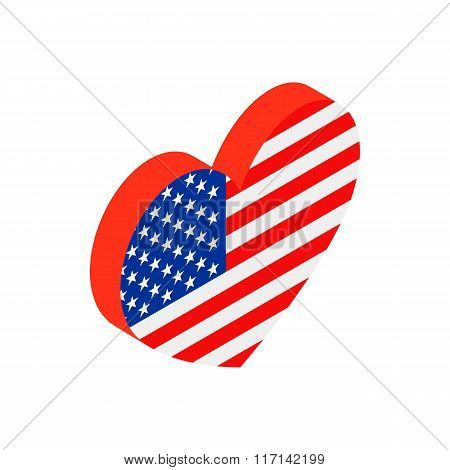 Heart in the USA flag colors isometric 3d icon