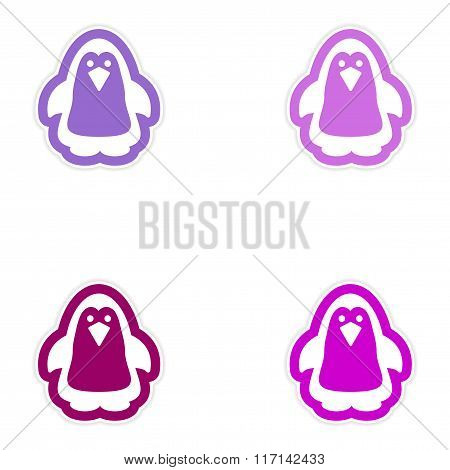 Set of paper stickers on white background Arctic penguin