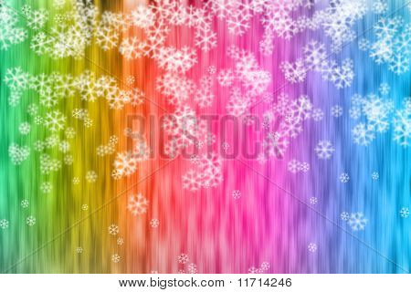 Abstract Colorful Backdrop And Snowflakes
