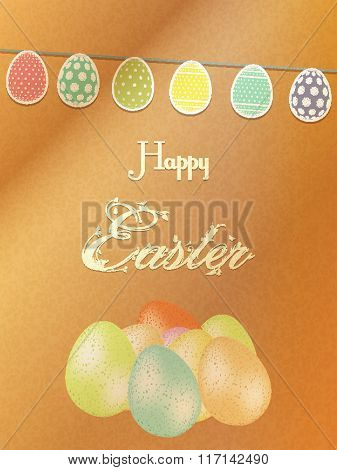 Easter Background With Eggs On Brown Paper