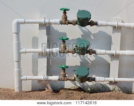 Sanitary Equipment. Pipe And Water Meter
