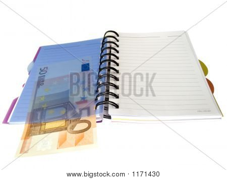 Notebook With Euro Money
