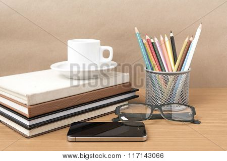 Coffee,phone,eyeglasses,stack Of Book And Color Pencil