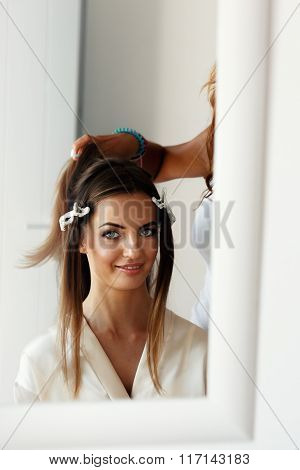 Beautiful Brunette Bride Getting A Hairstyle Done By Professional Stylist Mirror Reflection