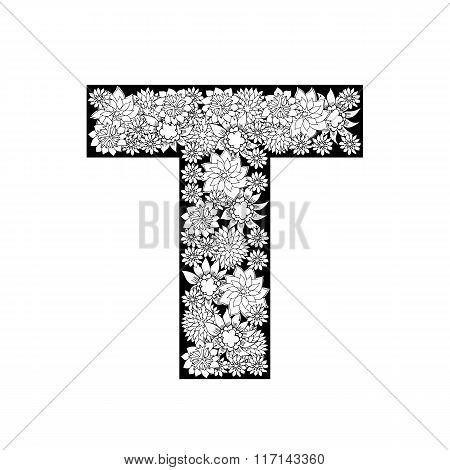 Hand drawn floral alphabet design. Letter T