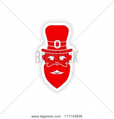 stylish paper sticker on white background man hat beard
