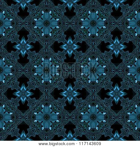 Oriental Blue Abstract Seamless Pattern On Silk Fabric, Wall Or Metal Railing