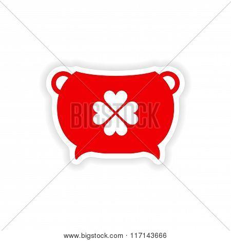 stylish paper sticker on white background bowler clover