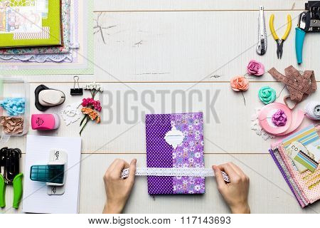 Scrapbook Background, Albums And Tools With Decoration