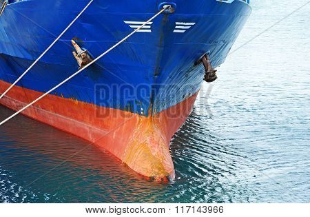 Bulbous bow of bulk cargo ship