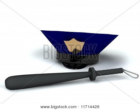 Police Hat And Club