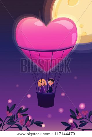 Two lovers in a balloon on the moon background.