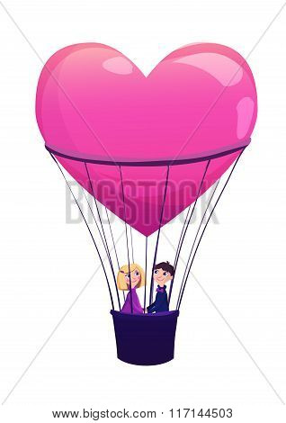 Two lovers in balloon on white background.