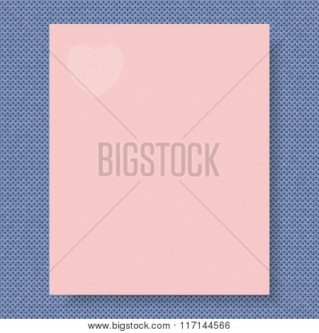 Writing Paper On The Knitted Background Both In Color Of The Year 2016 Rose Quartz (pink) And Sereni