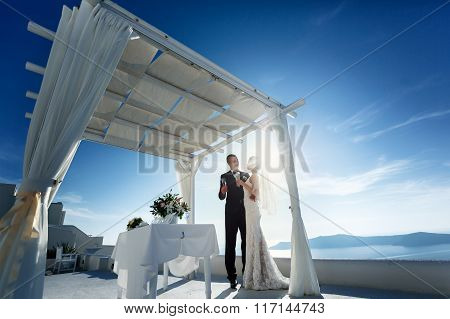 Newlywed Couple Drinking Champagne At Wedding Aisle Sea Background