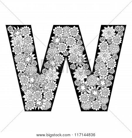 Hand drawn floral alphabet design. Letter W