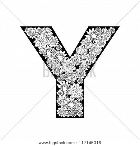 Hand drawn floral alphabet design. Letter Y