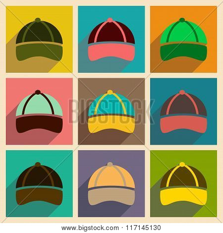 Modern flat icons vector collection with shadow sports cap