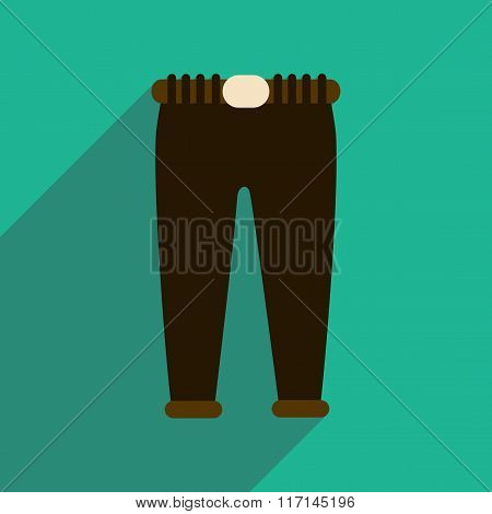 Flat icon with long shadow Men Pants