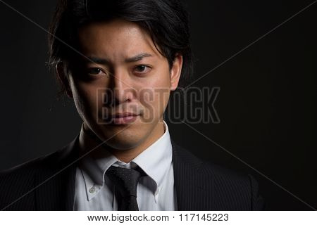 Dark And Smiling Asian Male Portrait