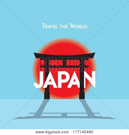 Flat style travel poster on Japanese theme, showing a Torii gate with the setting sun.