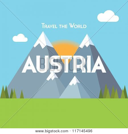 Flat style travel poster - Austria theme, showing snow-capped mountains, pine forests and green meadows, with the sun rising behind.