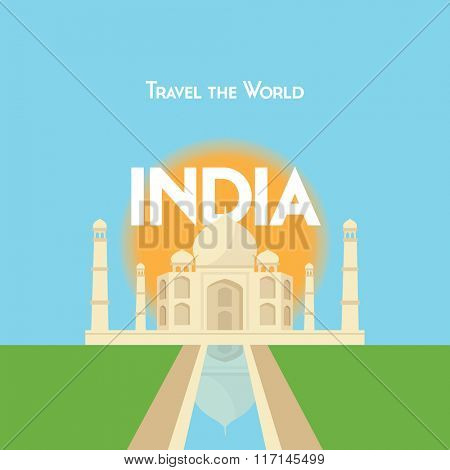 Flat style travel poster - India theme, showing the Taj Mahal with the sun behind.