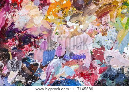 The Palette Of Artist For Mixing Oil Paints