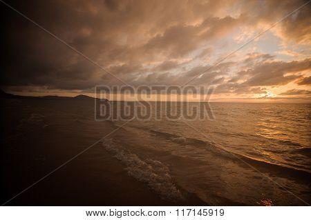 Impressive Sunset On Calm Sea In Thailand