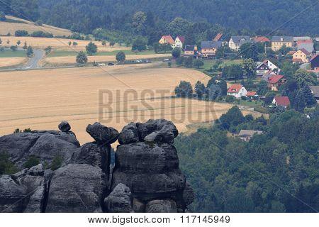 Village Altendorf Seen From Schrammstein Viewing Point In Saxon Switzerland