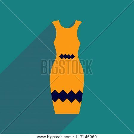 Flat icon with long shadow elegant dress
